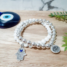 Load image into Gallery viewer, Evil Eye in Hasma Hand Charm Bracelet in Howlite