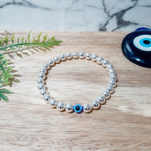 Load image into Gallery viewer, Evil Eye Bracelet in Silver Hematite