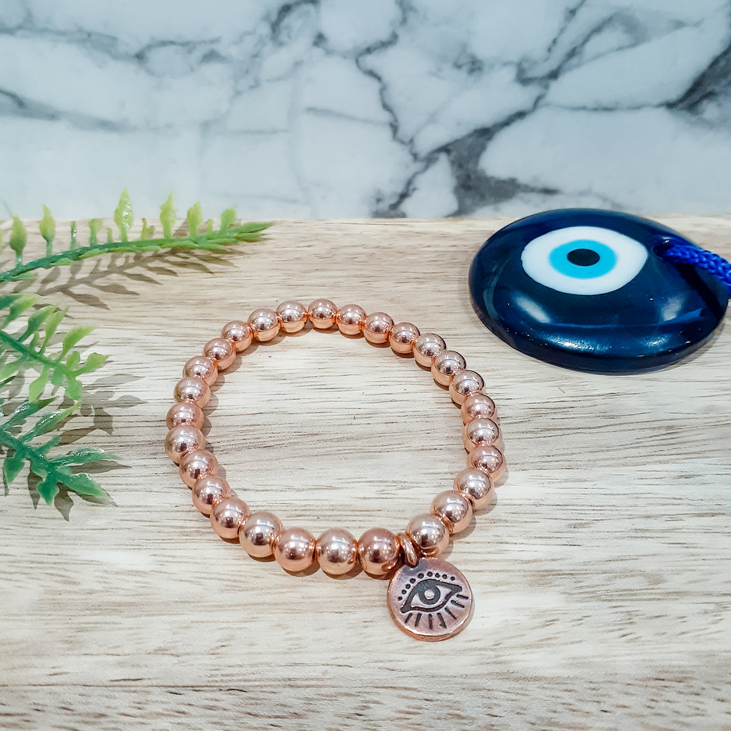 Evil Eye Charm Bracelet in Rose Gold Hematite