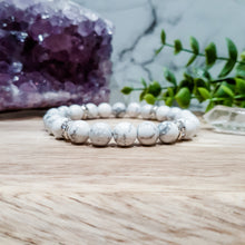 Load image into Gallery viewer, Howlite Bracelet with Silver Rhinestones