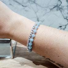 Load image into Gallery viewer, Aqua Jade Bracelet with Silver Hematite