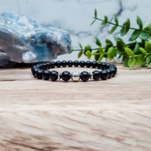 Load image into Gallery viewer, Black Onyx Bracelet with Silver Hematite
