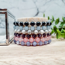 Load image into Gallery viewer, Lavender Jade Bracelet with Silver Hematite