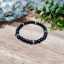 Load image into Gallery viewer, Black Onyx Bracelet with Silver Rhinestones