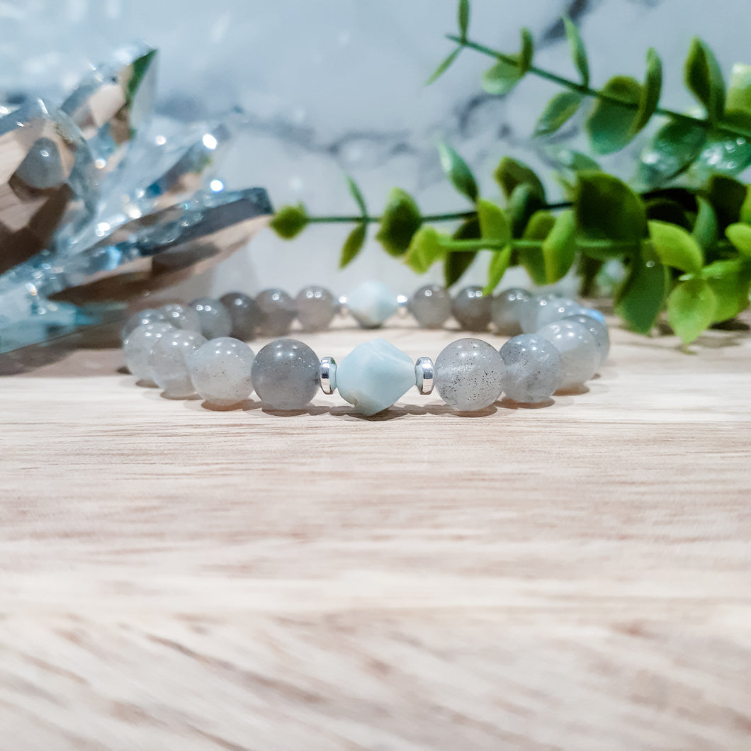 Labradorite Bracelet with Amazonite and Silver Hematite