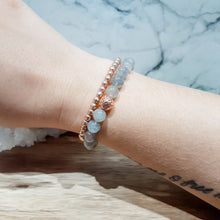 Load image into Gallery viewer, Labradorite Bracelet with Rose Gold Lava Stone