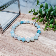 Load image into Gallery viewer, Amazonite Faceted Bracelet with Silver Lava Stone