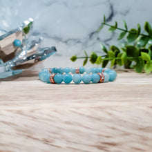 Load image into Gallery viewer, Amazonite Bracelet with Rhinestones in Rose Gold