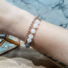Load image into Gallery viewer, Moonstone Bracelet with Labradorite and Rose Gold Hematite