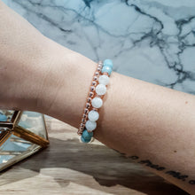Load image into Gallery viewer, Moonstone Bracelet with Amazonite and Rose Gold Hematite
