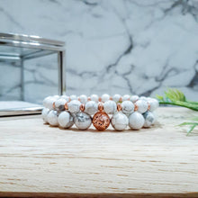 Load image into Gallery viewer, Bracelet Set in White Howlite with Rose Gold Hematite and Lava Stone