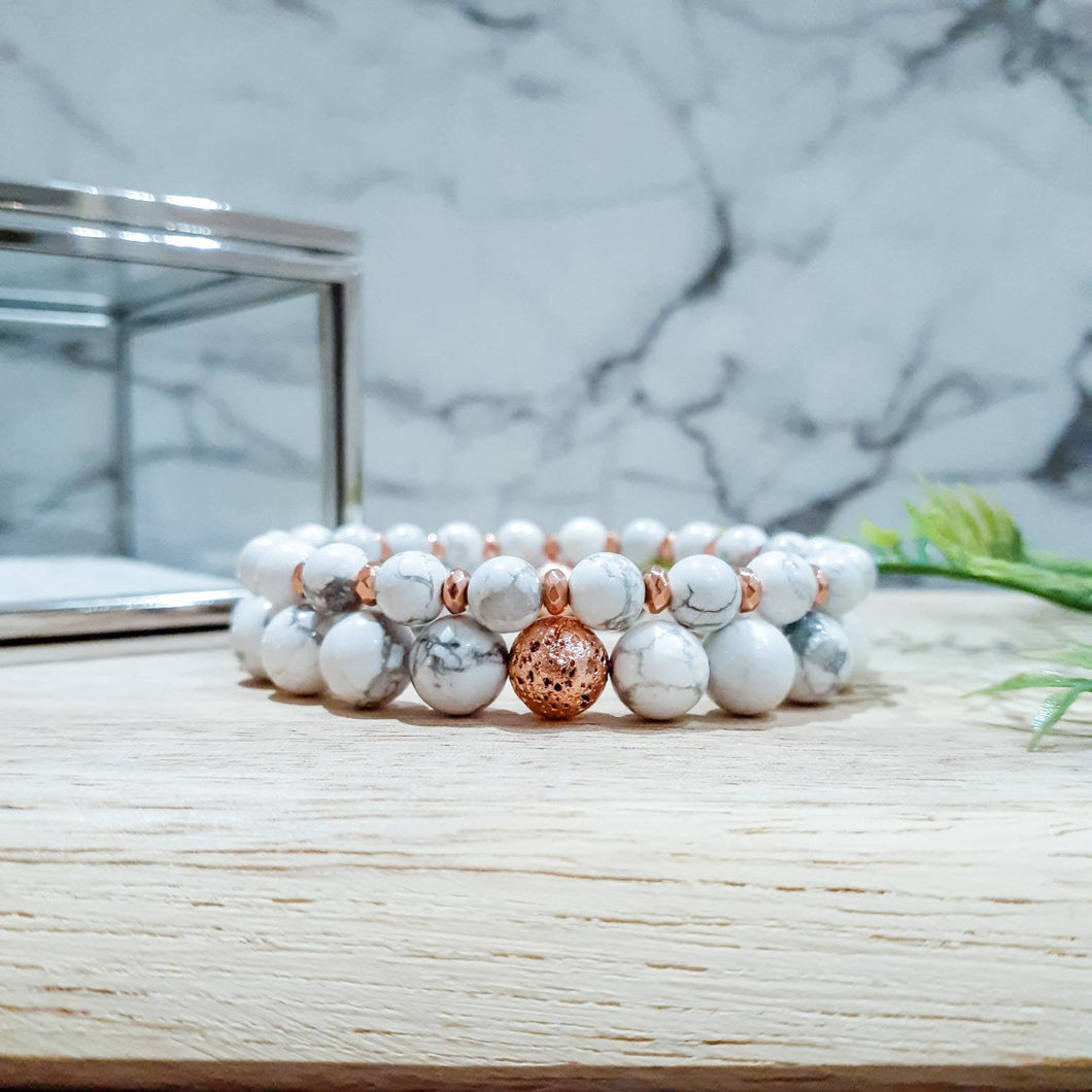 Bracelet Set in White Howlite with Rose Gold Hematite and Lava Stone