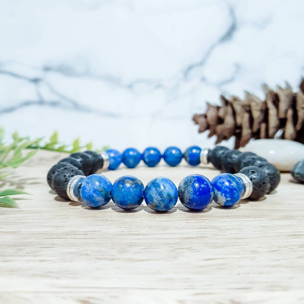 Diffuser Bracelet with Lapis Lazuli and Lava Stone