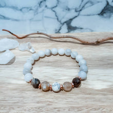 Load image into Gallery viewer, Opal Gemstone Bracelet with Black Fire Agate and Rose Gold Accents