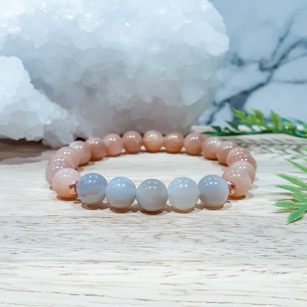 Peach Moonstone Bracelet with Grey Agate and Rose Gold Accents