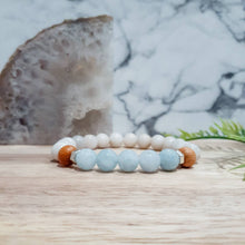 Load image into Gallery viewer, Opal Gemstone Bracelet in Aqua Jade with Mala Wood and Silver Hematite