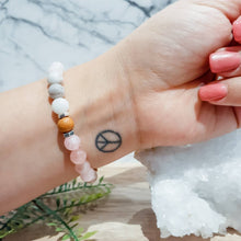 Load image into Gallery viewer, Opal Gemstone Bracelet in Rose Quartz with Mala Wood and Silver Hematite