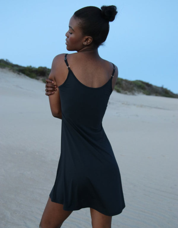 Black-Strappy-Dress-With-Front-Pleats-AC275