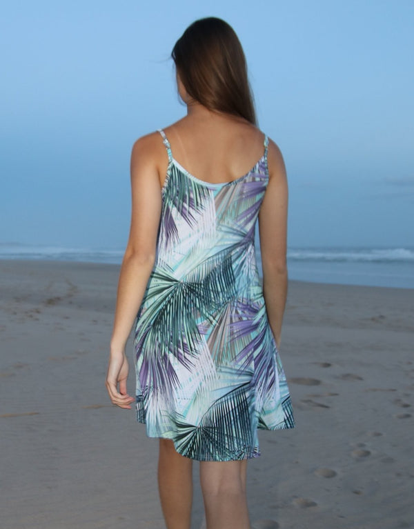 Tropical-Leaf-Strappy-Dress-With-Front-Pleats-AC275