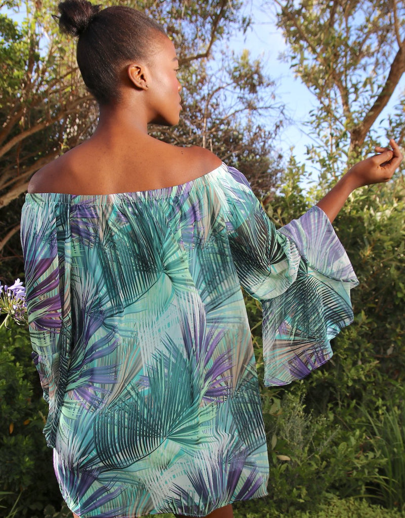 Tropical-Leaf-Off-the-Shoulder-Dress-AC358