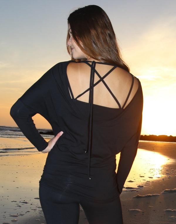 Black-Low-Tie-Back-3/4-Sleeve-Top-TT127