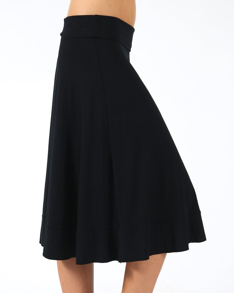 Black-Stylish-Viscose-Midi-Skirt-AC103