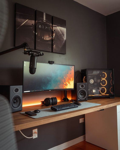 all black home office