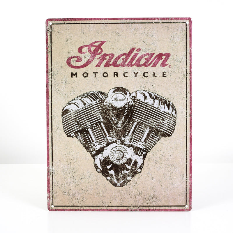 Indian Engine Metal Sign - Saltire Motorcycles