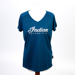 Indian Ladies Teal Sparkle T-Shirt - Saltire Motorcycles