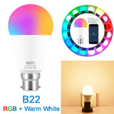 Smart Light Bulb 15W WIFI RGB lamp E27 B22  Work with Alexa/Google Home110V 220V RGB+White Dimmable Timer Function Magic lampada