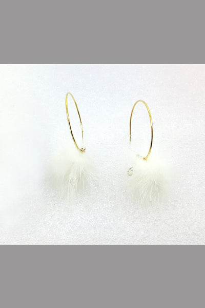 Gold Color Jewelry Feather Earrings Round Earrings