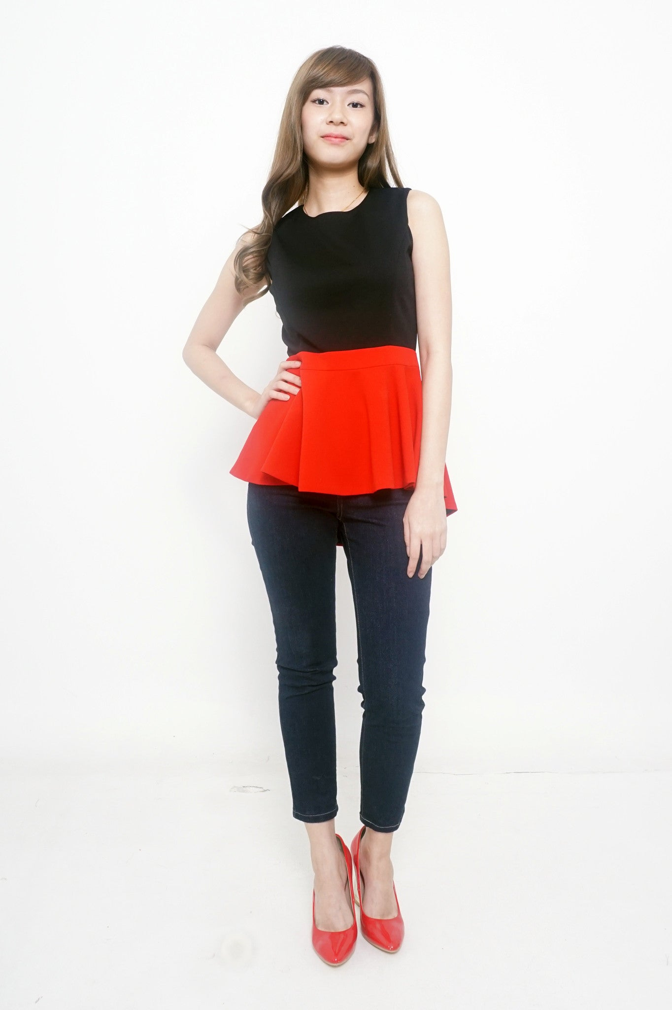 Black and Red Peplum Top
