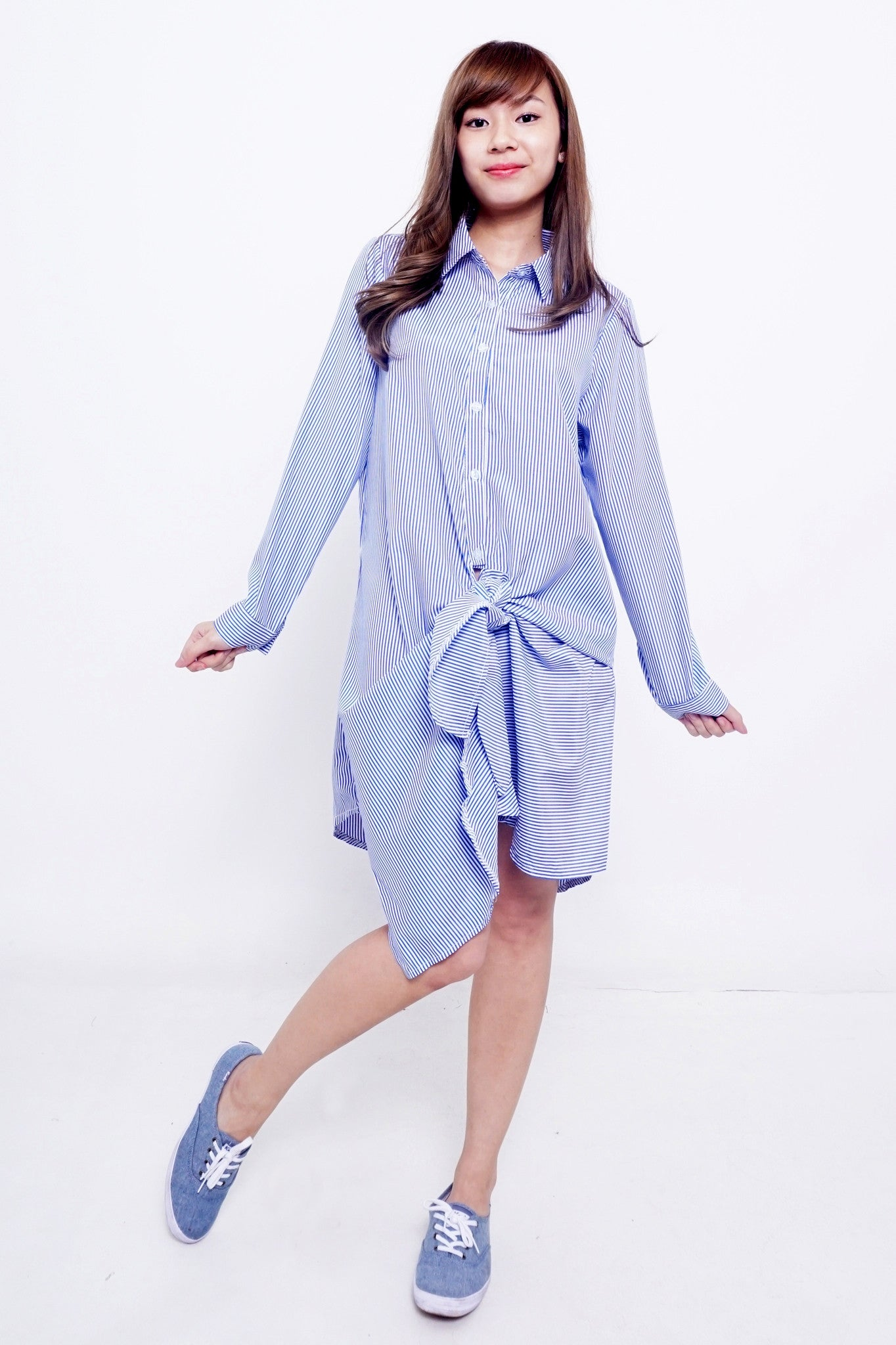 Greyish-Light-Blue/Grey/Blue Knotted Boyfriend Shirt Dress