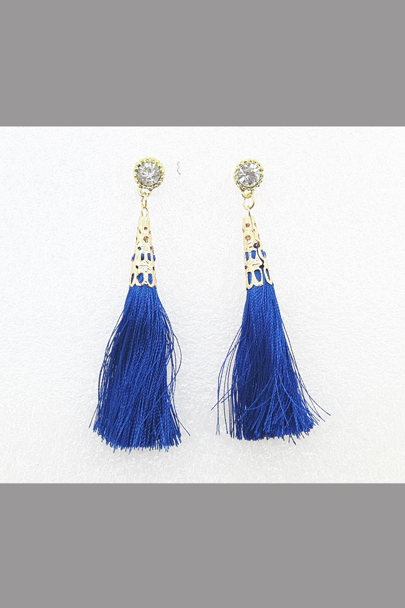 Ethnic Women Crystal Circular Tassel Rhinestone Earrings (Blue)