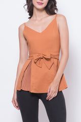Glitter Glam Jessica Sleeveless Blouse (Brown)