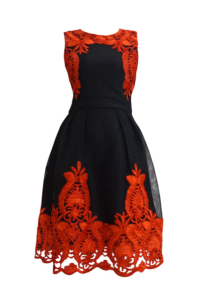 Black Lace Dress with Red Flowers