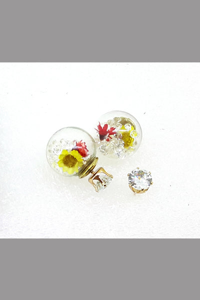 The Double Face Brand Jewelry Stud Earring For Women (Yellow Flower)