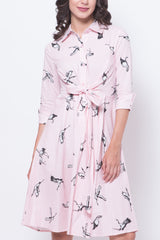 Glitter Glam Printed Birds Mid-Sleeves Dress (Pink)