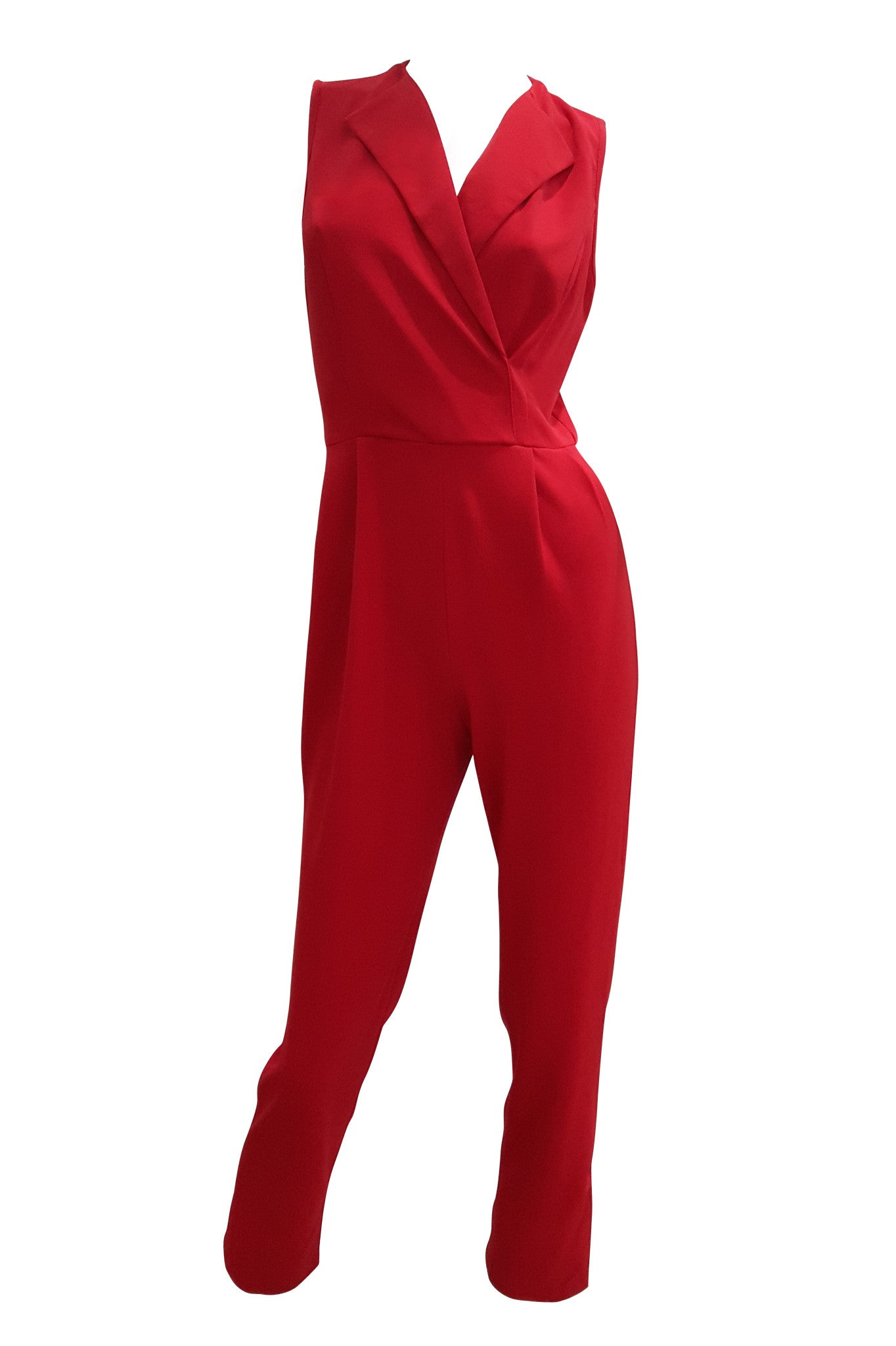 Lapel Sleeveless Jumpsuit In Red