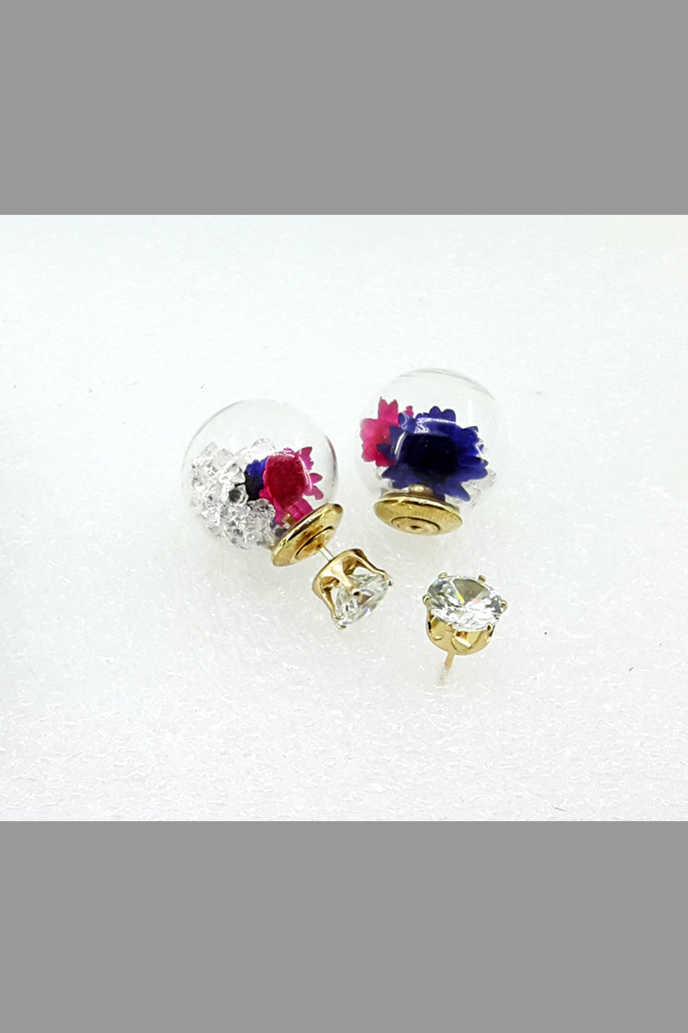 The Double Face Brand Jewelry Stud Earring For Women (Blue Flower)