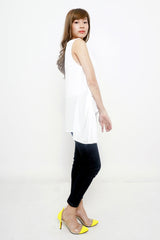 Black/White Sleeveless with Hanging Hip Sash