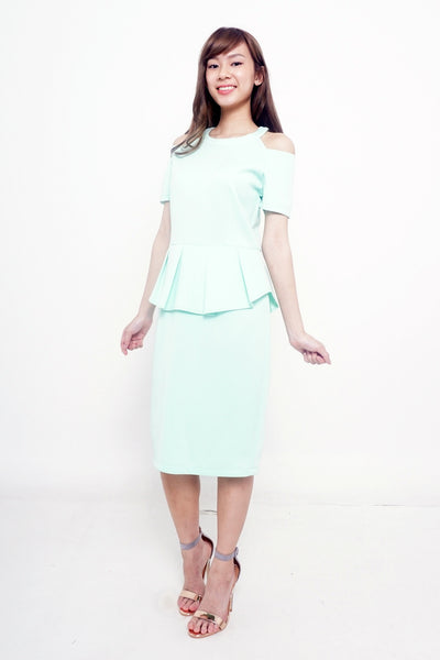 Cut-out Shoulder Peplum Green Dress