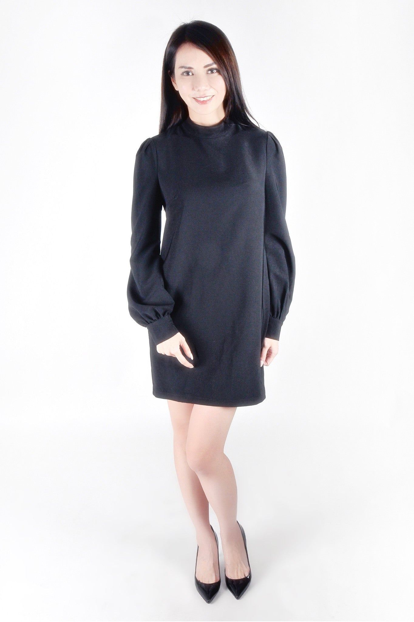 High Neck Long Sleeve Shift Dress