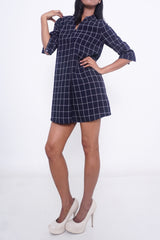 Heidi Checkered Sleeves Dress