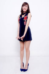 Navy Blue Chokered Floral Romper