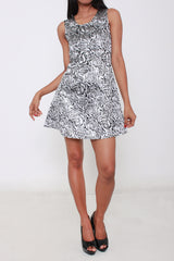 Printed Party Dress (Silver)