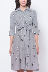 Glitter Glam Printed Birds Mid-Sleeves Dress (Black)