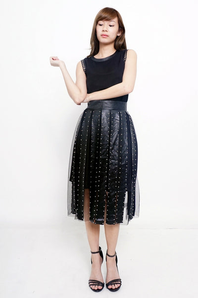 Goth Black/Silver Cage Skirt