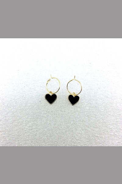 KOREA STYLE EARRING WITH BLACK HEART