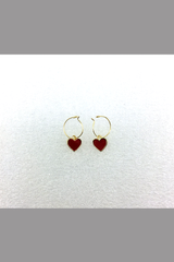KOREA STYLE EARRING WITH RED HEART